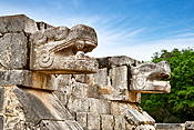 Jaguar head of the Venus Platform, Chichen Itza, Yucatan, Mexico
